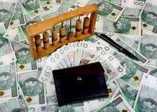 Polish money, pen, wallet, abacus Stock Photos