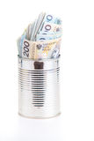 Polish money savings in metal can Stock Photo