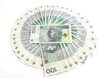 Polish money. Stacked on a white background Stock Photos