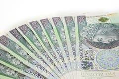 Polish money. Stacked on a white background Stock Images