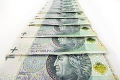 Polish money. Stacked on a white background Royalty Free Stock Photo