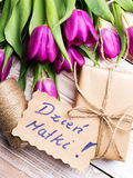 Polish Mother's Day card and a bouquet of beautiful tulips Stock Image