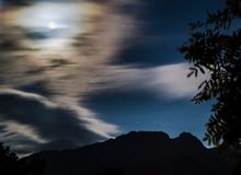 Polish Mountain Giewont. Full moon over the mountain Giewont Poland Stock Photo