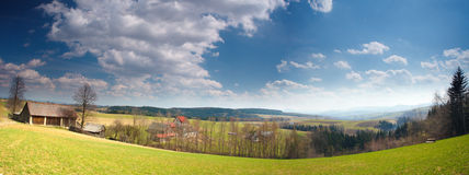Polish mountain in spring. Panorama of polish mountain in spring Royalty Free Stock Image