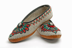 Polish mountaineers wear such traditional slippers Stock Image