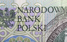 Polish National Bank sign on one hundred zloty note Stock Photos