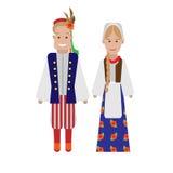Polish national costume. Illustration of national dress on white background Stock Photography