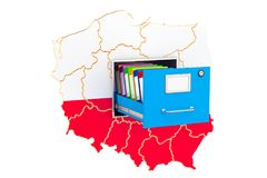 Polish national database concept, 3D rendering. Isolated on white background Royalty Free Stock Photography