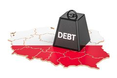 Polish national debt or budget deficit, financial crisis concept. 3D Stock Photo