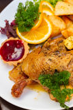 Polish national dish - duck with apples and potato Stock Photo