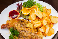Polish national dish - duck with apples and potato Royalty Free Stock Photography