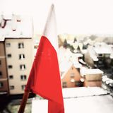 Polish National flag. Artistic look in vintage vivid colours. Royalty Free Stock Photo
