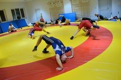 Polish National Wrestling League training Royalty Free Stock Photo