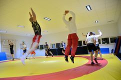 Polish National Wrestling League training Stock Images