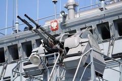 Polish navy ship. Machine gun on polish navy ship stock image