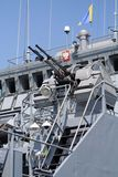 Polish navy ship. Machine gun on polish navy ship stock photography