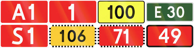 Polish Numbered Roads. Collection of numbered road signs in Poland, including motorways, european road and voivodeship road stock illustration