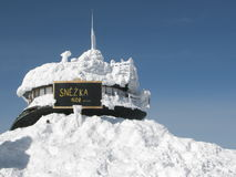 Polish observatory on the highest mountain Snezka stock photography