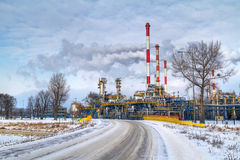 Polish oil rafinery in Gdansk. At frosty winter Royalty Free Stock Photos