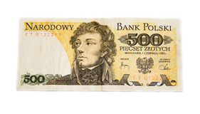 Polish old banknote Stock Photo