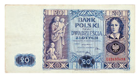 Polish old banknote Royalty Free Stock Photo
