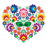 Polish olk art art heart embroidery with flowers - wzory lowickie. Decorative traditional patterns set - paper catouts style isolated on white