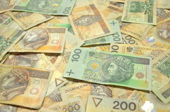 Polish one and two hundred zloty banknotes Stock Photos