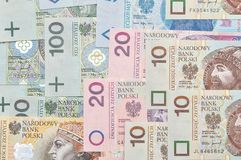Polish paper money background. Royalty Free Stock Photos