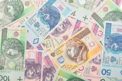 Polish paper money background. Stock Photo