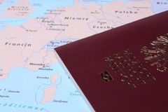 Polish Passport on a map Stock Image