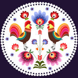 Polish pattern. Polish folk - traditional design with roosters royalty free illustration