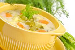 Polish pickled cucumbers soup Stock Images