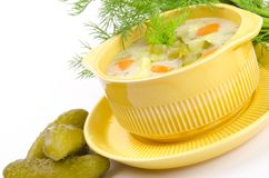 Polish pickled cucumbers soup Royalty Free Stock Images