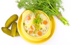 Polish pickled cucumbers soup Royalty Free Stock Image