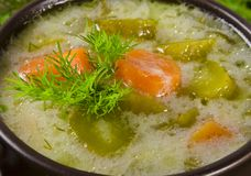 Polish pickled cucumbers soup Stock Photo
