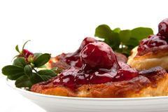 Polish pie with strawberry jam Stock Photo
