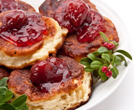 Polish pie with strawberry jam Stock Images