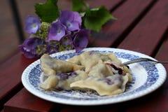 Polish Pierogi, dumplings with blueberries Stock Images