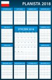 Polish Planner blank for 2018. Scheduler, agenda or diary template. Week starts on Monday Stock Images