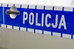 Polish police car sign Stock Image