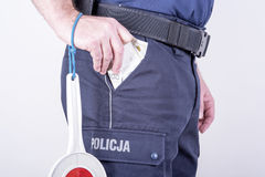 Polish policeman corrupt Stock Photography