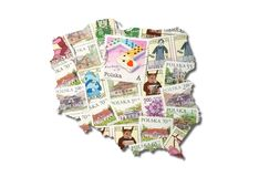 Polish postage stamps in the shape of Poland Stock Images