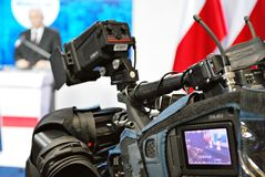 Polish Prime Minister Beata Szydlo attend a press conference summarizing two years of the party`s government. stock photo