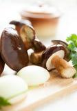 Polish raw mushrooms and ceramic pot Royalty Free Stock Photos