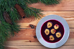 Polish red borscht with dumplings Stock Photography