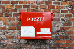 Polish red mail box, Krakow, Poland Royalty Free Stock Photos