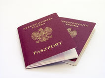 Polish red passports. Isolated on white background Stock Photos