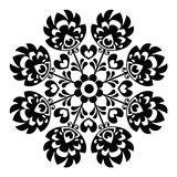 Polish round black folk art pattern Stock Photo