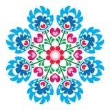 Polish round folk art pattern - Wzory Lowickie, Wycinanka stock illustration