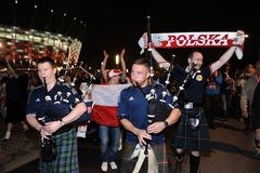 Polish and scotish football fans Stock Photo